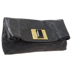 Louis Vuitton Black Monogram Leather Gold Foldover Envelope Evening Clutch Bag