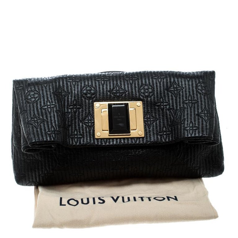 Louis Vuitton Black Monogram Leather Limited Edition Altair Clutch For Sale 8