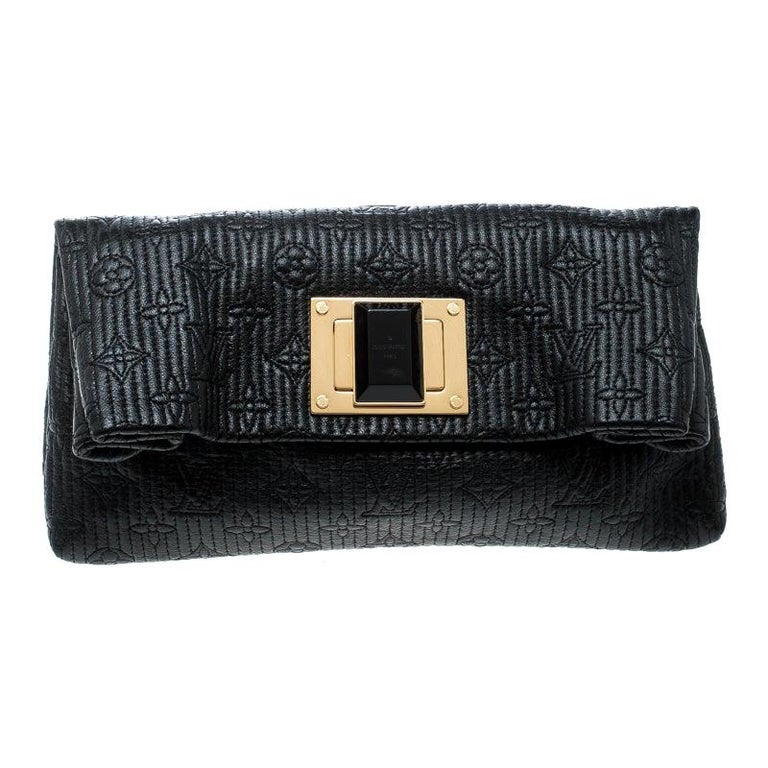 Louis Vuitton Black Monogram Leather Limited Edition Altair Clutch For Sale