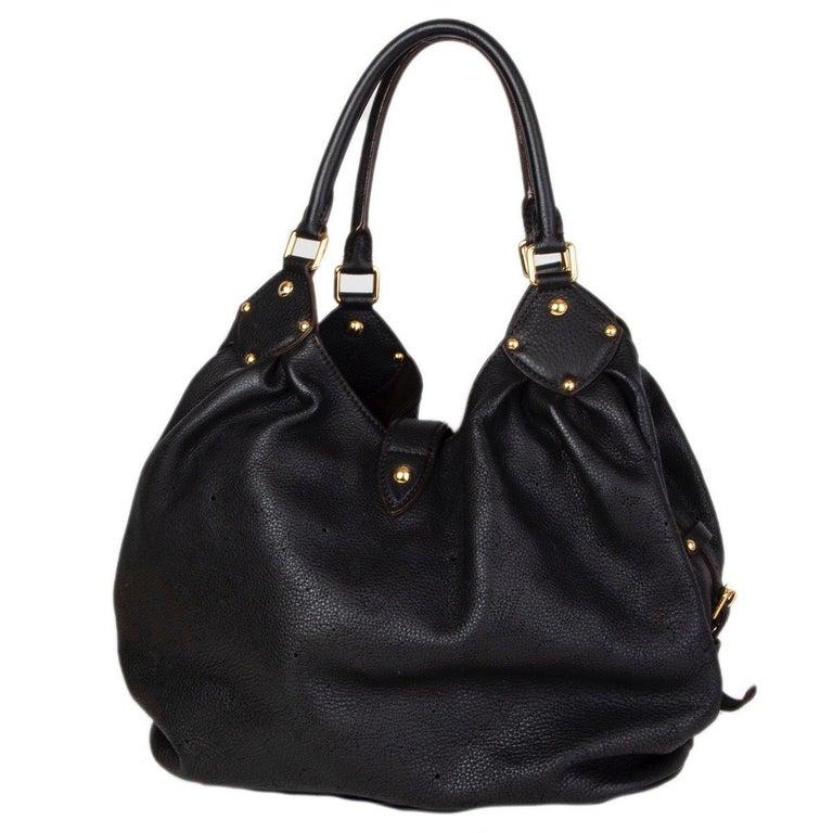 Black LOUIS VUITTON black Monogram leather MAHINA L Hobo Shoulder Bag For Sale