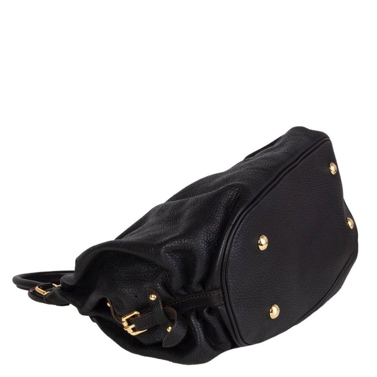 LOUIS VUITTON black Monogram leather MAHINA L Hobo Shoulder Bag In Excellent Condition For Sale In Zürich, CH