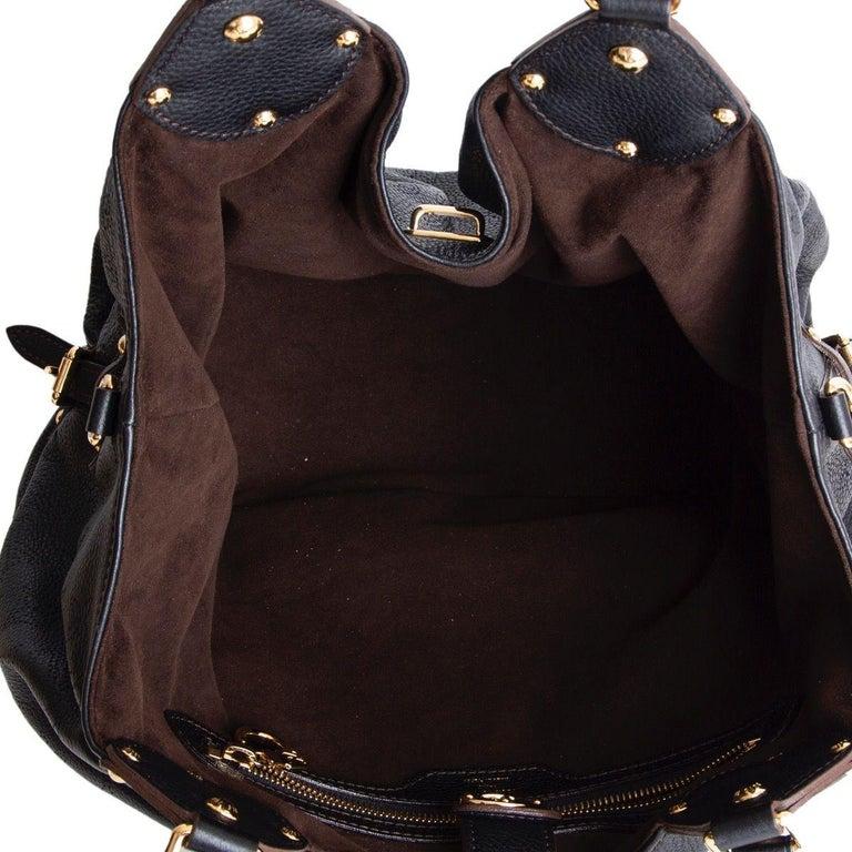 Women's LOUIS VUITTON black Monogram leather MAHINA L Hobo Shoulder Bag For Sale