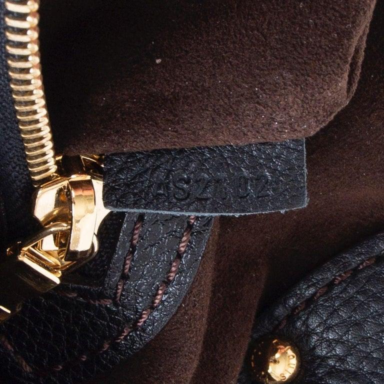 LOUIS VUITTON black Monogram leather MAHINA L Hobo Shoulder Bag For Sale 1