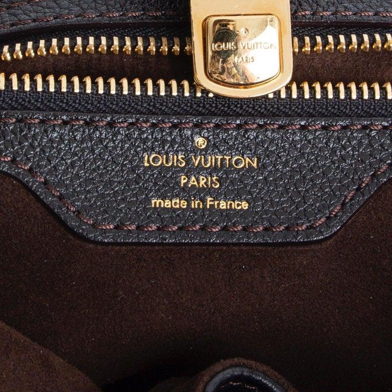 LOUIS VUITTON black Monogram leather MAHINA L Hobo Shoulder Bag For Sale 2