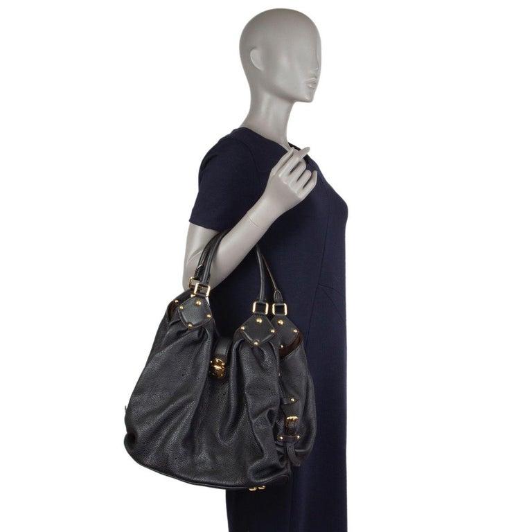 LOUIS VUITTON black Monogram leather MAHINA L Hobo Shoulder Bag For Sale 3