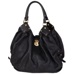 LOUIS VUITTON black Monogram leather MAHINA L Hobo Shoulder Bag