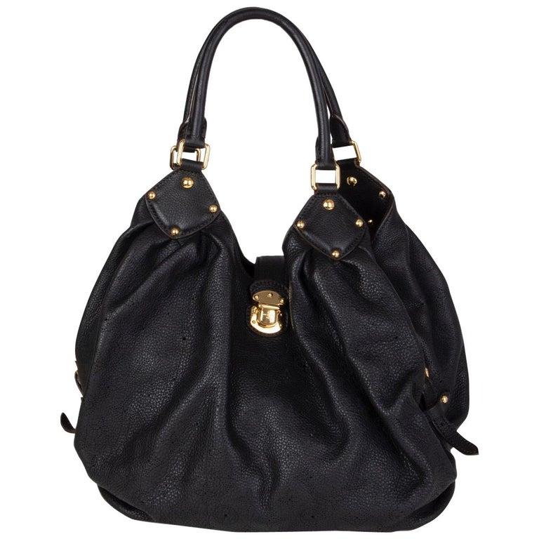 LOUIS VUITTON black Monogram leather MAHINA L Hobo Shoulder Bag For Sale