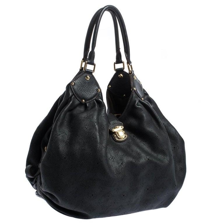 Women's Louis Vuitton Black Monogram Mahina Leather XL Bag For Sale