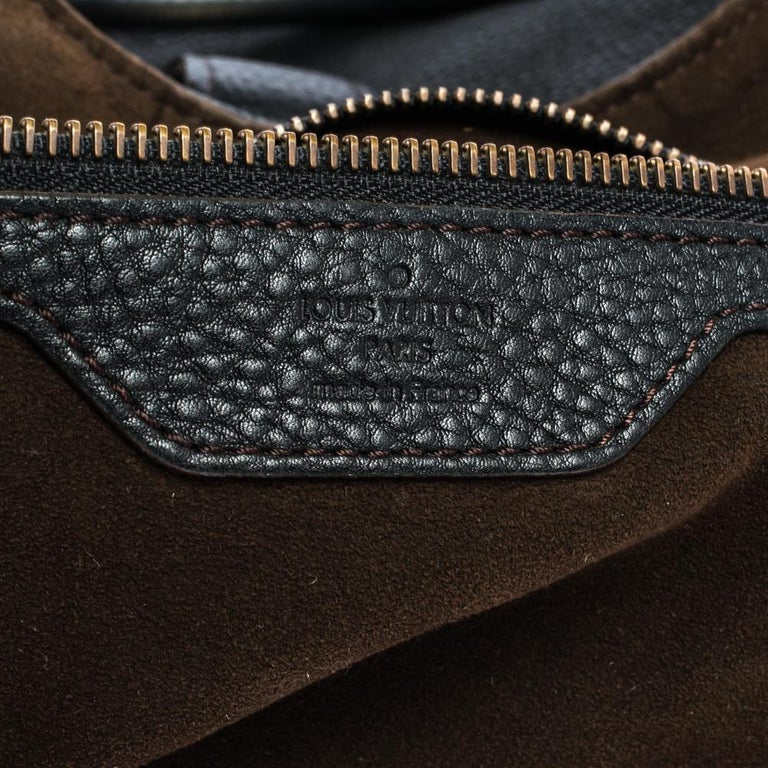 Louis Vuitton Black Monogram Mahina Leather XL Bag For Sale 4