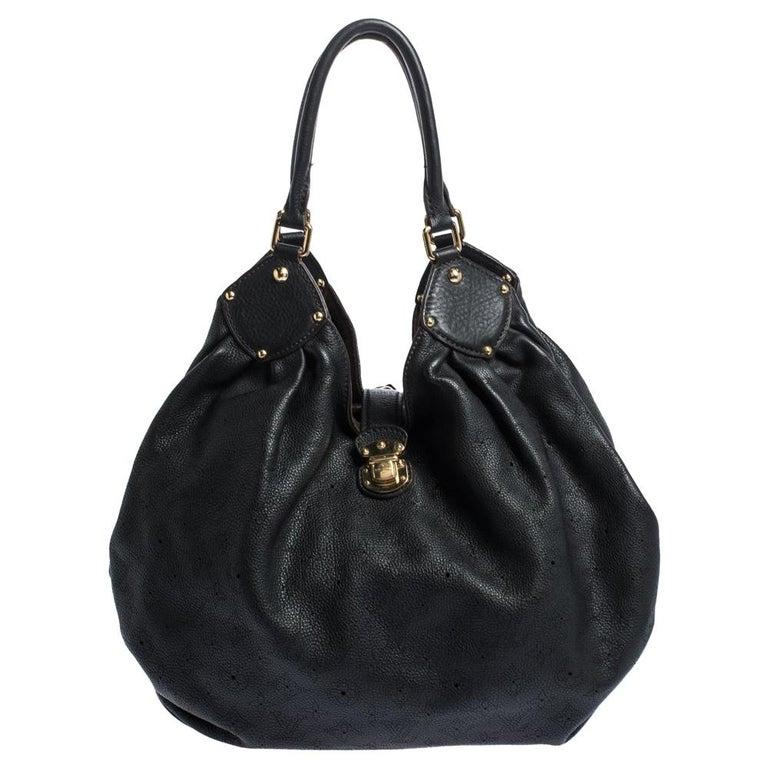 Louis Vuitton Black Monogram Mahina Leather XL Bag For Sale