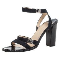 Louis Vuitton Black Monogram Mini Lin Satin Studded Ankle Wrap Sandals Size 38