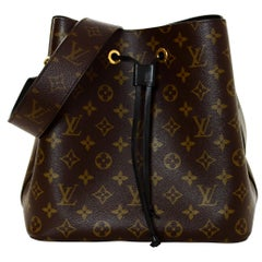 Louis Vuitton Black/Monogram NeoNoe MM Drawstring Bucket Crossbody Bag