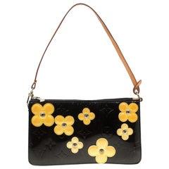 Louis Vuitton Black Monogram Vernis Lexington Fleurs Accessories Pochette Bag