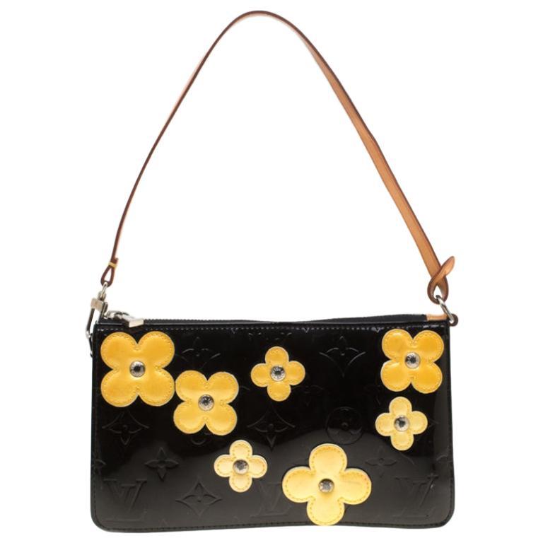 Louis Vuitton Black Monogram Vernis Lexington Fleurs Accessories Pochette Bag For Sale