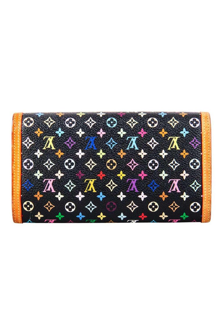 The Louis Vuitton black Multicolore Monogram canvas Porte Tresor wallet is the most elegant way to organise your bills, cards and the number of coins that keep jingling around in your bag. This beautiful piece is a timeless necessity that has been