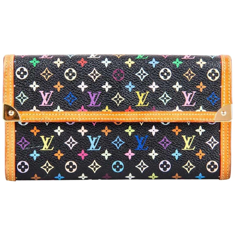Louis Vuitton Black Multicolor Monogram Canvas Porte Tresor International Wallet For Sale
