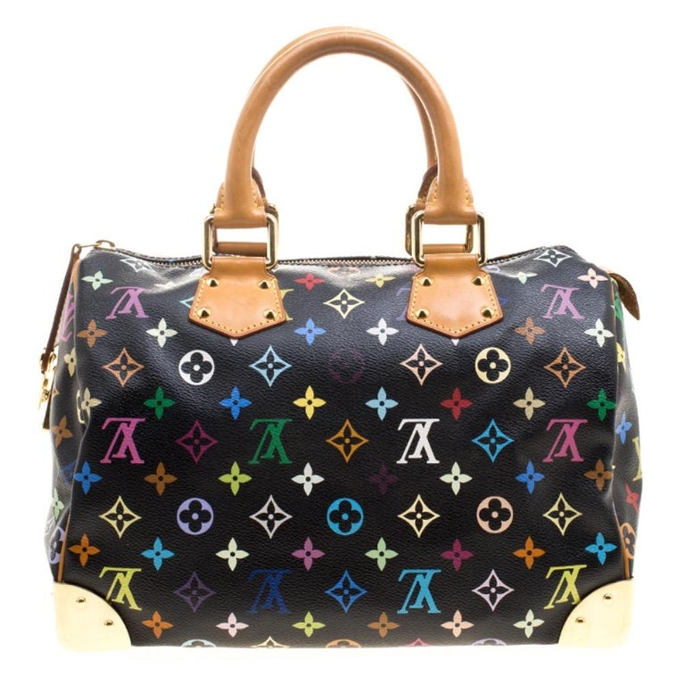 A traditional style that takes you back to the 1960's, Speedy was one of the first bags made by Louis Vuitton for everyday use. Black in color, the bag is crafted from LV's multicolored monogram Canvas. It has gold tone hardware and enough room to
