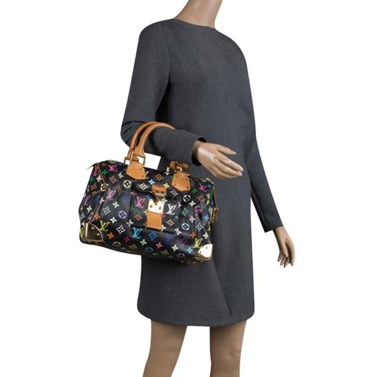 Louis Vuitton Black Multicolor Monogram Canvas Speedy 30 In Good Condition In Dubai, Al Qouz 2