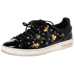 Louis Vuitton Black Patent Leather Frontrow Blossom Floral Low Top Size 37
