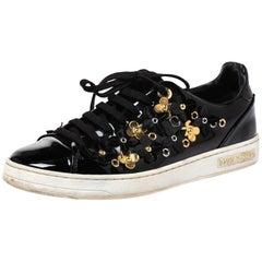 Louis Vuitton Black Patent Leather Frontrow Blossom Floral Low Top Size 37