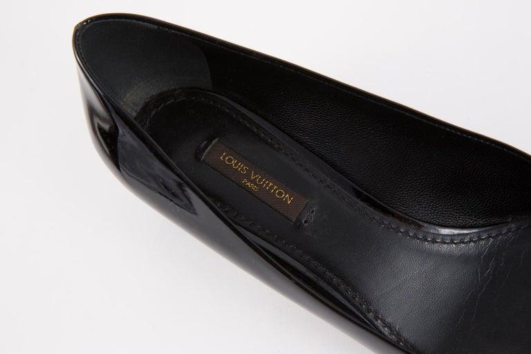 Louis Vuitton Black Patent Leather Logo Pumps Shoes For Sale 4