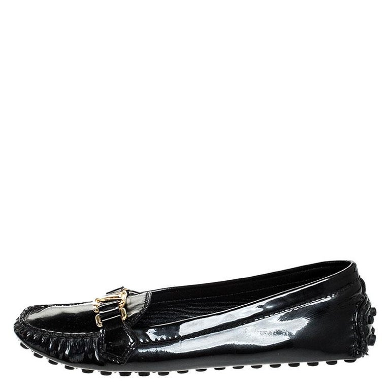 Louis Vuitton Black Patent Leather Oxford Loafers Size 38.5 For Sale 1