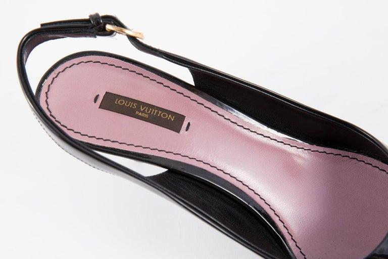 Louis Vuitton Black Patent Leather Slingback Pumps Shoes For Sale 7