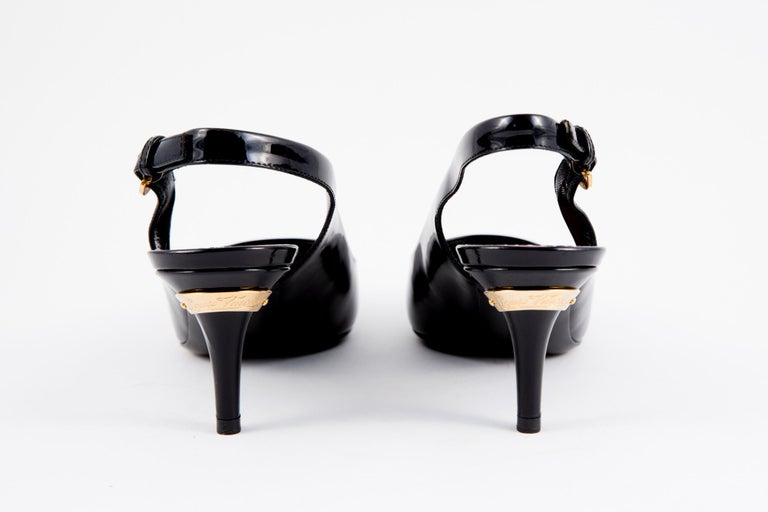 Louis Vuitton Black Patent Leather Slingback Pumps Shoes In Excellent Condition For Sale In Paris, FR