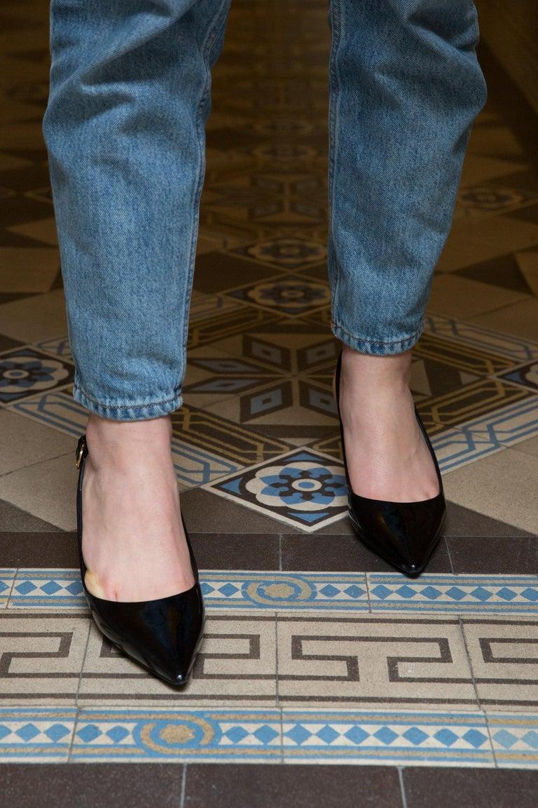 Women's Louis Vuitton Black Patent Leather Slingback Pumps Shoes For Sale
