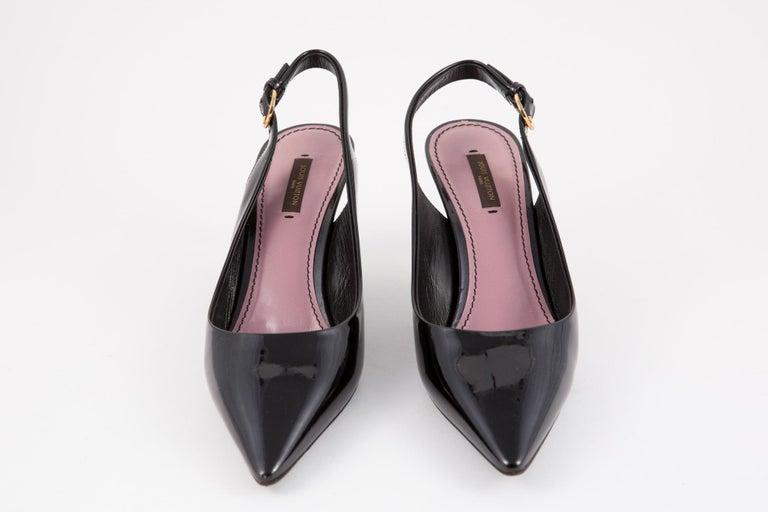 Louis Vuitton Black Patent Leather Slingback Pumps Shoes For Sale 1