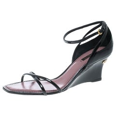 Louis Vuitton Black Patent Leather Strawberry Cross Strap Wedge Sandals Size 39