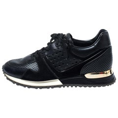 Louis Vuitton Black Perforated Leather and Suede Run Away Sneakers Size 38