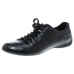 Louis Vuitton Black Perforated Leather Low Top Sneakers Size 39.5