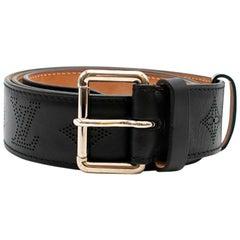 Louis Vuitton Black Perforated Monogram Mahina Leather Belt 95/38