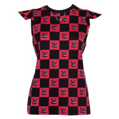 Louis Vuitton Black & Pink Logo Checkered Knit Sleeveless Top M