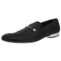 Louis Vuitton Black Satin Bank Slip On Loafers Size 43.5