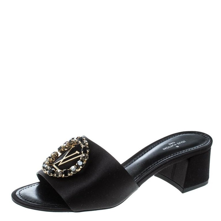 b3e417d36 Louis Vuitton Black Satin Madeleine Slide Mule Sandals Size 37.5 For Sale