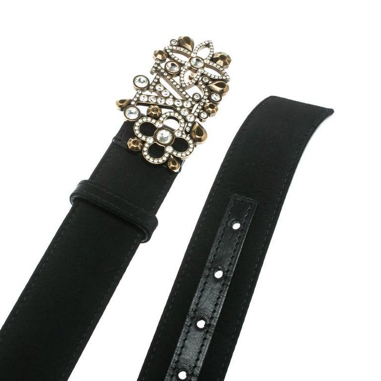 Women's Louis Vuitton Black Satin Rhinestone Fleurs Runway Belt 85 CM For Sale