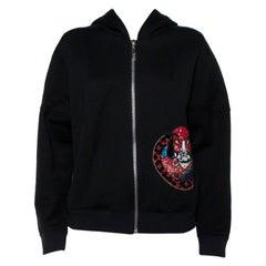 Louis Vuitton Black Sequin Embellished Applique Detail Knit Hoodie L