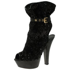 Louis Vuitton Black Sequins and Leather Peep Toe Platform Ankle Boots Size 37