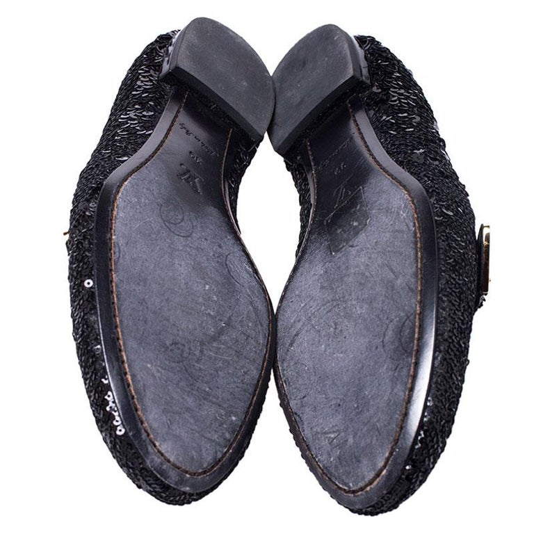 Women's Louis Vuitton Black Sequins Bow Amulet Smoking Slippers Size 39 For Sale