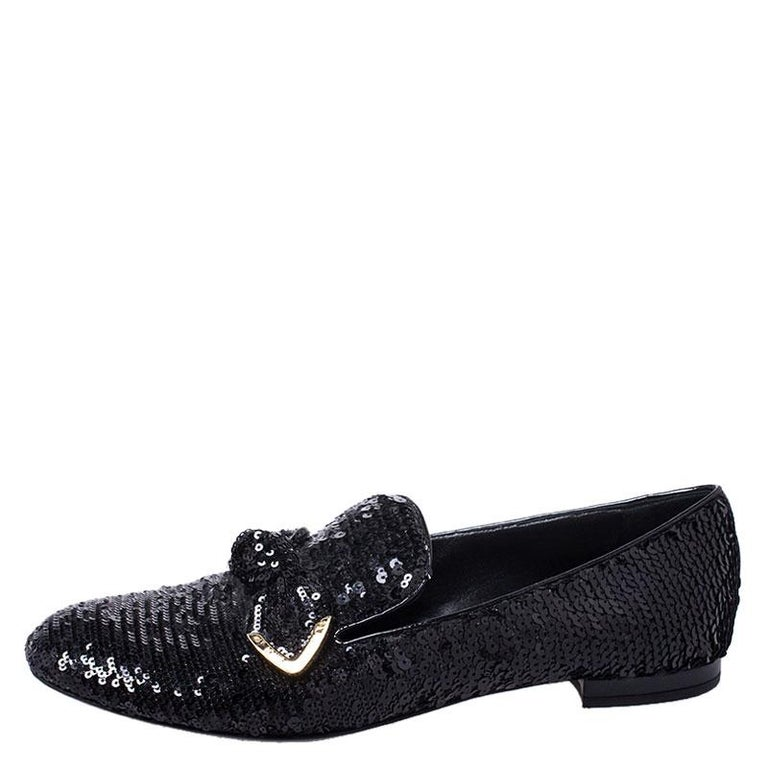 Louis Vuitton Black Sequins Bow Amulet Smoking Slippers Size 39 For Sale 1
