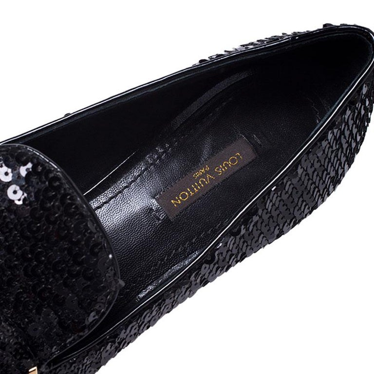 Louis Vuitton Black Sequins Bow Amulet Smoking Slippers Size 39 For Sale 3