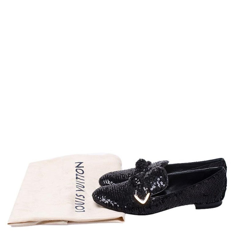Louis Vuitton Black Sequins Bow Amulet Smoking Slippers Size 39 For Sale 4