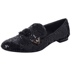 Louis Vuitton Black Sequins Bow Amulet Smoking Slippers Size 39