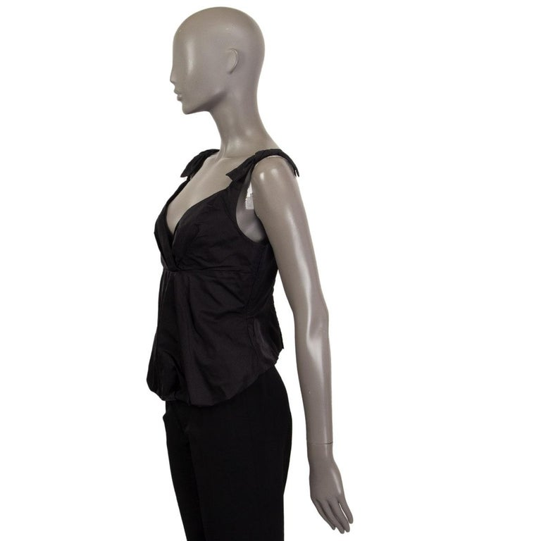 Black LOUIS VUITTON black silk BOW EMBELLISHED Sleeveless Shirt Top 40 M For Sale