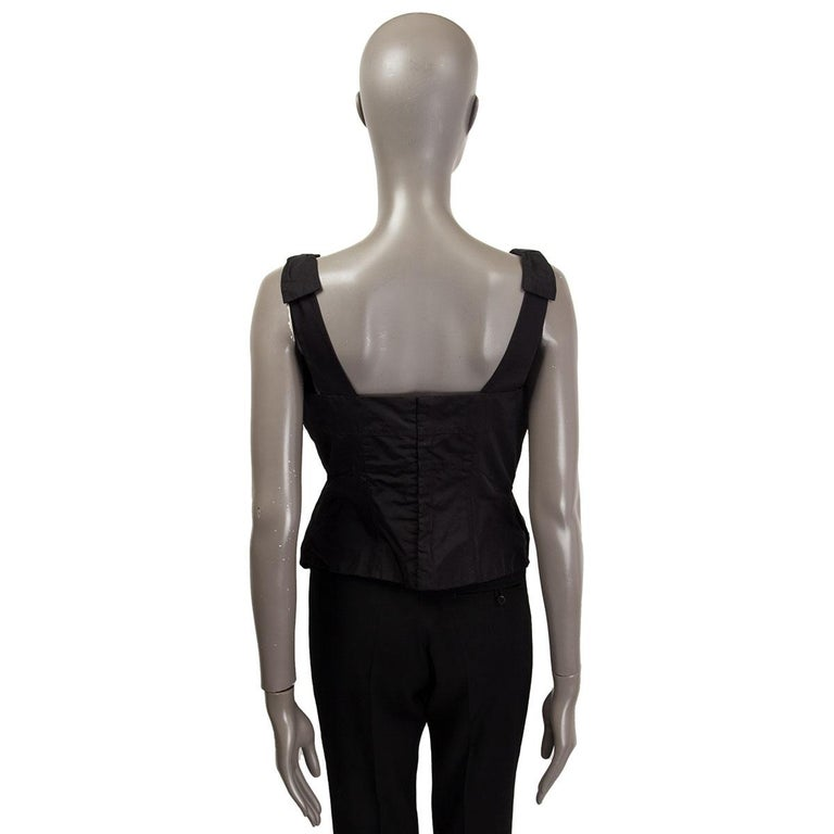 LOUIS VUITTON black silk BOW EMBELLISHED Sleeveless Shirt Top 40 M In Excellent Condition For Sale In Zürich, CH