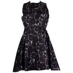 LOUIS VUITTON black silk SNAKE PRINT FLARE Cocktail Dress 38