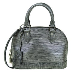 Louis Vuitton Black & Silver Epi Leather Alma BB Top Handle Crossbody Bag