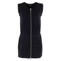 Louis Vuitton Black Sleeveless Monogram Embossed Zip Front Dress SIZE S